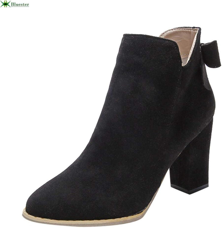 Frauen Flcok Ponited Toe Bow Stiefel Stiefeletten High Heels Zipper Martin Schuhe (Farbe   Schwarz)  | Diversified In Packaging