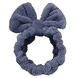 Sea Team - Diadema elegante para mujer, elástica, con forro polar de coral, con pompones muy monos para hacer cosplay para maquillaje y lavado de cara (Lazo azul)