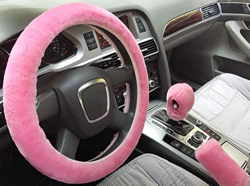 SMIUPIN 3 st/uppsättning mode päls rattskydd, vintervärme, kort konstgjord ull mjuk, fluffig, tjock, halkfri allmän bilinredning tillbehör (rosa, automatisk)