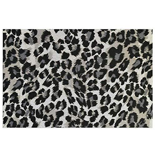 Felpudo para Puerta de Entrada, Felpudo Absorbente Entrada casa,con Base Antideslizante, Felpudo de Entrada para Recibidor,Pasillo, Cocina, Dormitorio,40X60X0.7cm-Patrón de Leopardo Gris y Negro