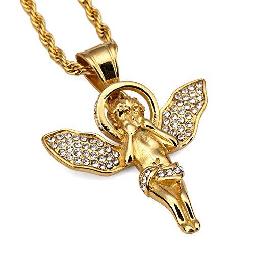 MAX HERO - Collana con angelo hip hop in oro per uomo e donna