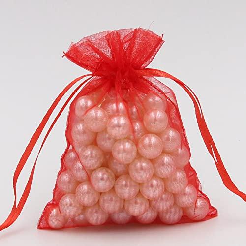 100 bolsas de organza, bolsa de regalo de boda, también se utiliza para Navidad, Halloween y otros regalos de celebración y bolsas de almacenamiento de joyas (7,5 x 10 cm)