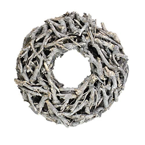 Bada Bing XL Weidenkranz Holz Kranz Geäst Aus Zweigen Ø Ca. 40 cm Weiss Grau Landhaus Stil Deko Tischdeko Wanddeko Adventskranz Advent Türkranz Weihnachten Deko 30