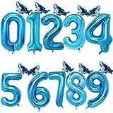 MYSdd 2pcs 32 Pouces Nombre Arc-en-Ciel Ballons en Aluminium Ballon à air décorations de fête d'anniversaire Enfants Or Rose Rose Argent Bleu 0-9 Chiffre Balle - Requin Bleu, 1