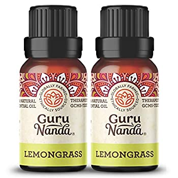 GuruNanda Lemongrass Essential Oil  Pack of 2 x 15 ml  - 100% Pure Premium Therapeutic Grade Oil for Cleansing and Rejuvenation Aromatherapy for Hair and Face Care Fresh Citrus Scent