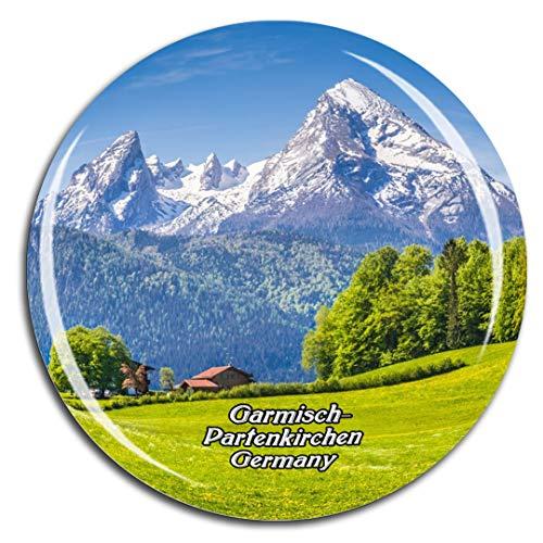 Weekino Deutschland Bayerische Alpen Garmisch-Partenkirchen Kühlschrankmagnet 3D Kristallglas Touristische Stadtreise City Souvenir Collection Geschenk Starker Kühlschrank Aufkleber