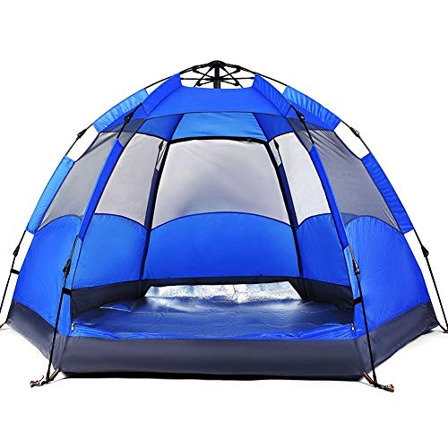 Tent 3-4/5-8 Person/Man, Camping Instant Pop Up Tents Waterproof Double Layer 4 Season Tents Big Family Shelter for Beach Picnic Outdoor,Blue,5 to 8 people