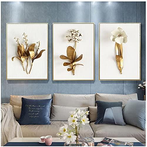 Arte de Pared Dorado Planta Hojas y Flores Lienzo Pintura Cuadros de Pared Sala de Estar Moderna decoración nórdica del hogar sin Marco