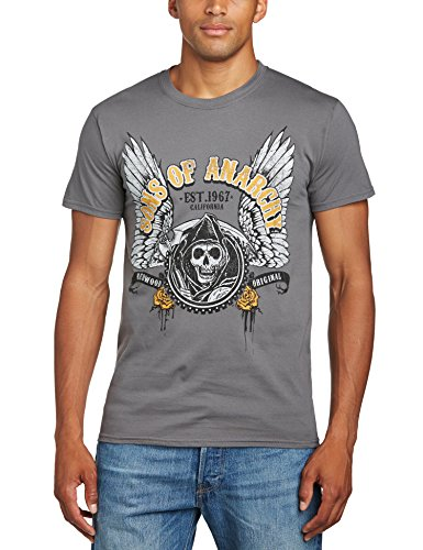 Sons of Anarchy Winged Logo T-Shirt, Gris (Charcoal), (Taille Fabricant: Small) Homme