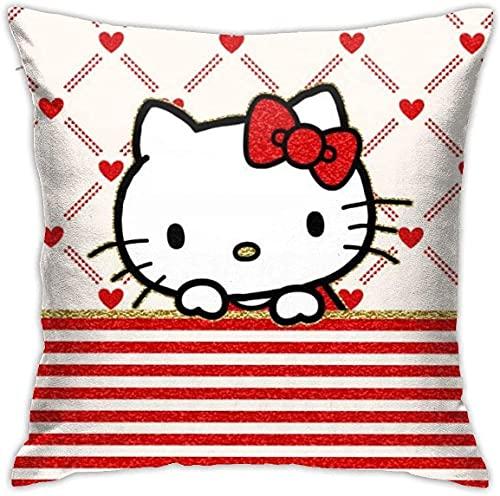 Fodere per Cuscino di tiro Hello Kitty Fodere per Cuscino per Poltrona per Divano Letto, Decorazioni per la casa. (18x18 Pollici)