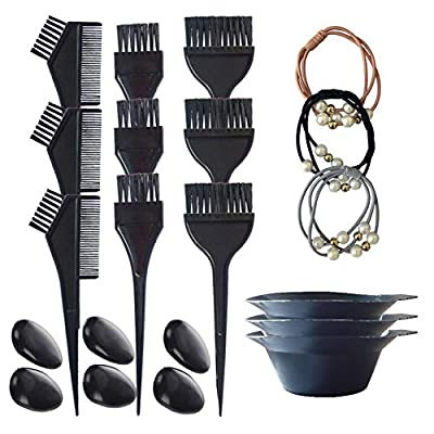 3 Sets Hair Dye Brush and Bowl Set, Hair Color Brush Mixing Bowl Kit Perfect Tools for Hair Tint Dying Coloring Applicator,18 Pieces Totally