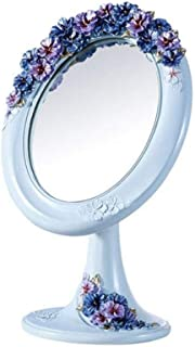 Desktop Vanity Mirror Single-Sided Portable Beauty Mirror The Mirror disc can be rotated 180° Freely up and Down Three-Dimensional Carved Hand-Painted Mirror disc About 18.5 * 22CM (Color : Blue)