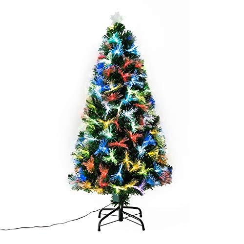 HOMCOM Weihnachtsbaum künstlicher Christbaum Tannenbaum Baum 120cm mit Ständer inkl. Dekor/Lichtfaser (120cm, grün/Weihnachtsbaum 4)