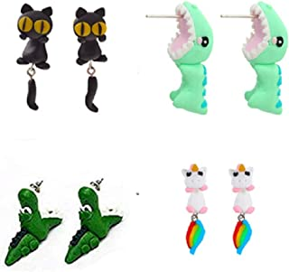 Handmade Polymer Clay Cute Dinosaur Crocodile Cat Horse Stud Earrings For Women Girls Kids,4D Animal Bite Stud Earrings - Style 4