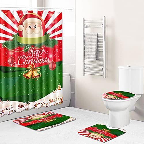 MMHJS Impresión Navideña Baño Impermeable Cortina De Ducha Inodoro Alfombra De Inodoro Sala De Ducha Antideslizante Tapete para Pies Juego De 4 Piezas