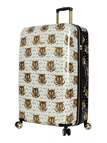 Betsey Johnson 30 Inch Checked Luggage Collection - Expandable Scratch Resistant (ABS + PC) Hardside Suitcase - Designer Lightweight Bag with 8-Rolling Spinner Wheels (Tigers)