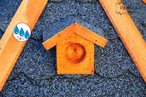 Vogelhaus-Futterhaus Massivholz,Massiv-Vogelhäuser, XXL ca. 70-75 cm, wetterfest Massivdach, mit Silo/Futtersilo für Winterfütterung,Gartendeko aus Holz blau grau BGX75blOS Vogelhäuser - 4