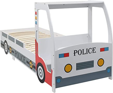 vidaXL Children s Police Car Bed with Desk and Seat Functional Comfortable Single Home Bedroom Furniture Kids Sleeping Cot 90x200cm