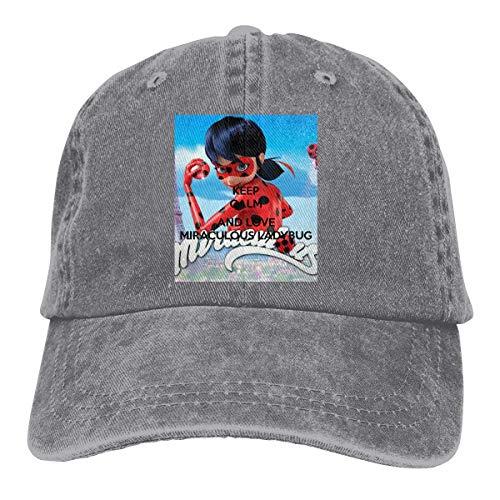 Men Vintage Adjustable Cap Personalized Keep Calm Love Miraculous Ladybug Fashion Baseball Cap, Blue Sombreros y Gorras