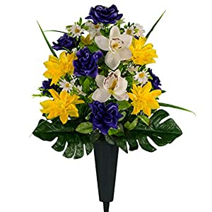 Sympathy Silks Artificial Cemetery Flowers – Realistic Vibrant Roses, Outdoor Grave Decorations – Non-Bleed Colors, and Easy Fit – 1 Purple Rose Yellow Dahlia White Orchid Bouquet with a vase