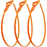 "3 pack of plastic plumbing snake drain auger 25"" flexible barbed wand can easily grab & remove clustered hair, food, garbage, and other obstructions easily Soft enough to bend in many kinds of strainers and pipes, great for kitchen, bathroom & utilit..."