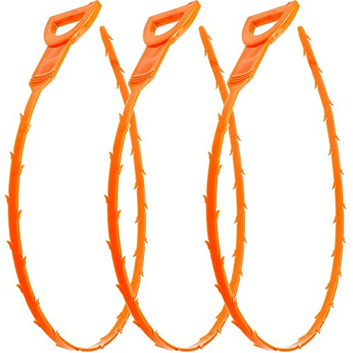 Vastar 3 Pack 25 Inch Drain Snake Hair Drain Clog Remover Cleaning Tool