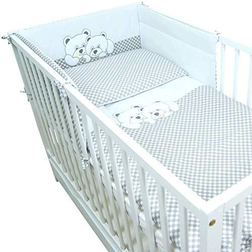 Callyna ® - Set linge lit bébé tour de lit 180 cm et housses. Ensemble lit bébé pur coton. 100%...
