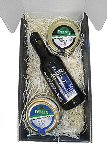 Caja Estuche Gourmet con Queso de la Serena y Crema de Queso de Oveja Vino Antaño Rioja Crianza de 18.7 cl Ideal para Navidad Regalos para Asistentes a Reuniones y Eventos