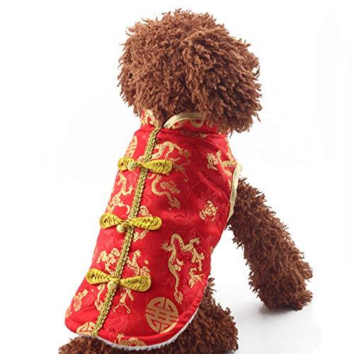 DishyKooker Dicker Haustier-Hunde-Kleidung Tang-Anzug für Winter Neujahr, Kostüm, rot, Größe M