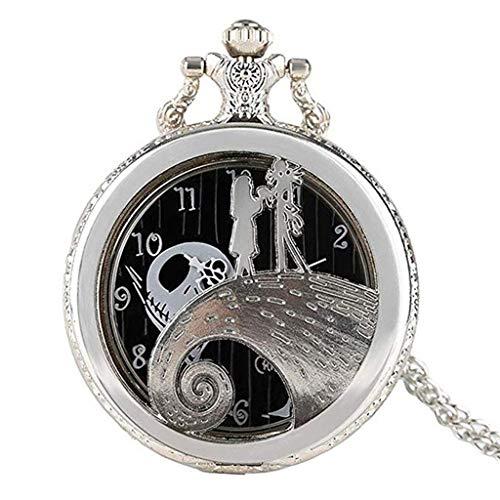 ldl - Reloj de Bolsillo Vintage con Cadena, la Pesadilla Antes del Collar de Navidad (Color : Bronze)