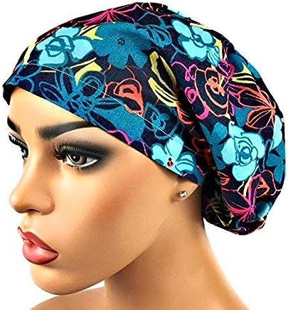 Women s Surgical Scrub Hat Nurse Ponytail Adjustable Euro Bouffant Blue  Teal Floral DK Scrub Hats f5d6bc186cc1