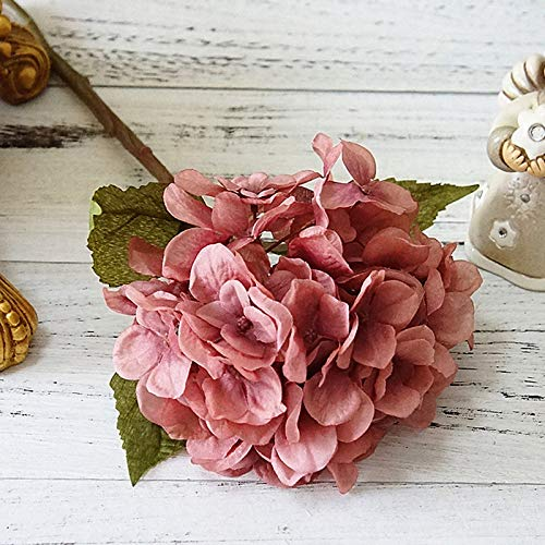 æ— Ramo de flores de seda de hortensias artificiales de color rosa oscuro con tallo, 5 piezas de hortensias sintéticas para la decoración del hogar de la boda