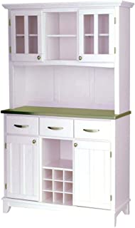Home Styles 5001 Series Stainless Steel Top Buffet Server and Hutch, White Finish