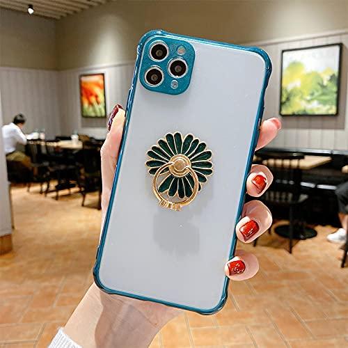 FQSCX Funda para iPhone con Anillo de Diamantes a Prueba de Golpes y Funda Transparente para teléfono Mate para iPhone 12 Se 2020 11 11Pro XS MAX XR XS X 6S 7 8 Plus Funda de Parachoques Foriphone12