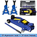 Feidak 2 Ton Trolley Jack Stand Low Profile Hydraulic Jack Car Jack with Carry Case + Heavy Duty 3T Axle Stand Jack Stand Car Support, Made Solid Steel