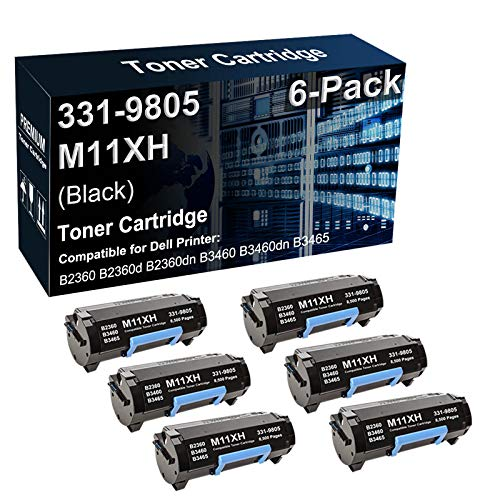 6-Pack Compatible B2360dn B3460dn B3465dn Printer Toner Cartridge Replacement for Dell 331-9805 M11XH C3NTP Toner Cartridge (Black, High Capacity)
