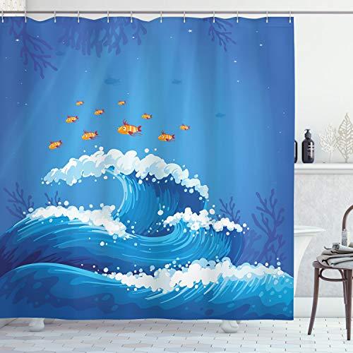 ABAKUHAUS Marine Duschvorhang, Fische & Wellen in Ozean, Waschbar & Leicht zu pflegen mit 12 Haken Hochwertiger Druck Farbfest Langhaltig, 175 x 200 cm, Violett Blau Orange