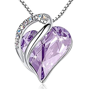 Infinity Love Heart Pendant Necklace Made with Swarovski Crystals Birthstone Jewelry Gifts for Women, Silver-Tone