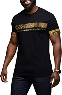 Mens African Tribal Dashiki Floral Short Sleeve Graphic T Shirt Blouse Tops