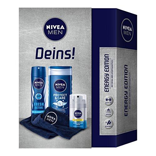 Nivea Men Set de regalo para hombres con desodorante, Cuidado Facial Crema, gel de ducha y toalla, Energy Edition, 3unidades)