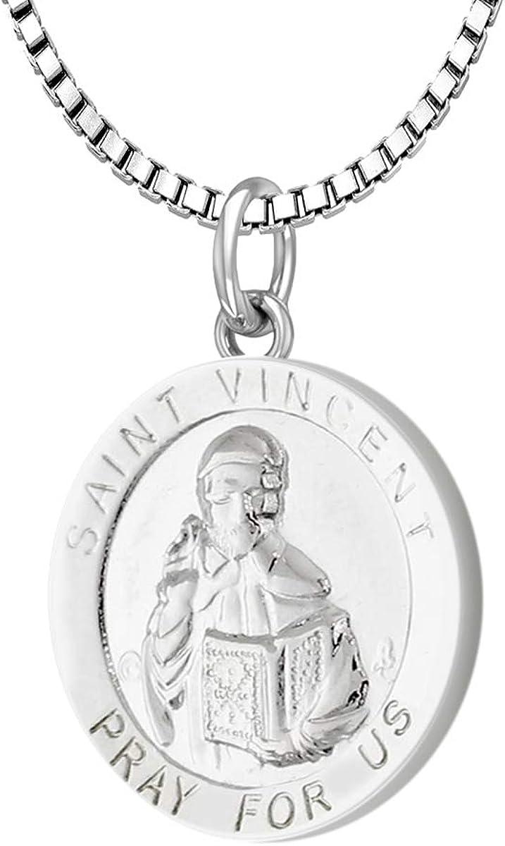 US 現品 ブランド激安セール会場 Jewels Ladies 925 Sterling Silver Vincent Saint Medal 18.5mm