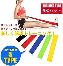 5段階の負荷から選べる筋トレ用のトレーニングチューブ トレーニングチューブ フィットネスチューブ 筋トレゴムバンド エクササイズ 強度別 5本セット インナーマッスル フィットネス ダイエット 体幹 ラバー