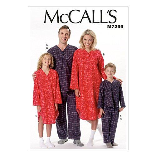 McCall 's Patterns 7299Kinder Größen 3–12Misses/Herren/Jungen/Gilrs Top/Nachthemd und Hosen Schnittmuster, Mehrfarbig