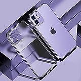 Carcasa de silicona suave mate con marco cuadrado para iPhone 12 Mini 11 12 Pro Max X XR Slim transparente transparente TPU contraportada para iPhone X_Purple