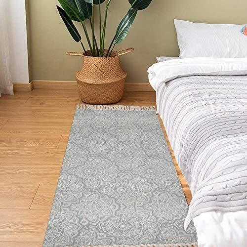SHACOS Teppich Läufer Flur Waschbar Grau Baumwollteppich Retro Teppich Mandala Baumwolle Handgewebte Vintage Teppiche mit Quasten für Küche, Wohnzimmer, Keller 60x90 cm
