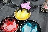 Batriozo Hochwertige Dekoschale - Echte Kokosnuss Schale - Edles Design - 100% Handarbeit - Vielseitig Einsetzbar - Buddha Bowl - Unikat - Blau - 6