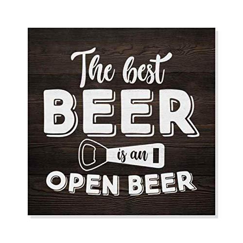 Ced454sy beste bier is open een rustiek uitziende inspiratie grappige houten teken muur Decor teken cadeau