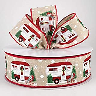"""5 Yards 2.5"""" Merry Christmas Camper Wired Ribbon by The Roll Tan Burlap White Snowflake Buffalo Plaid Tree Winter Printed ..."""