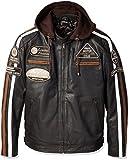 Chaqueta Moto Hombre en Cuero Urban Leather '58 GENTS' | Chaqueta Cuero Hombre | Cazadora de Moto de Piel de Cordero | Armadura Removible para Espalda, Hombros y Codos Aprobada por la CE |Marrón | L