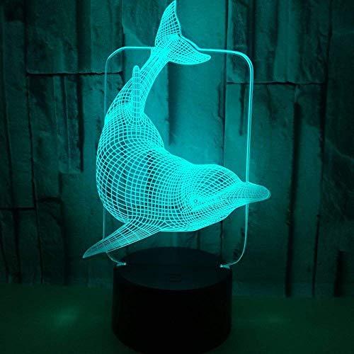 L-YINGZON Dolphin LED de colores de degradado estéreo 3D Lámpara de mesa táctil USB remoto luz de la noche la cabecera del escritorio creativo decoración decoración simple regalo romántico Luces noctu